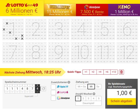 Lottostiftung Lotto.de Tippschein