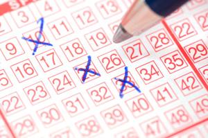Lottoschein mit 3 Kreuzen